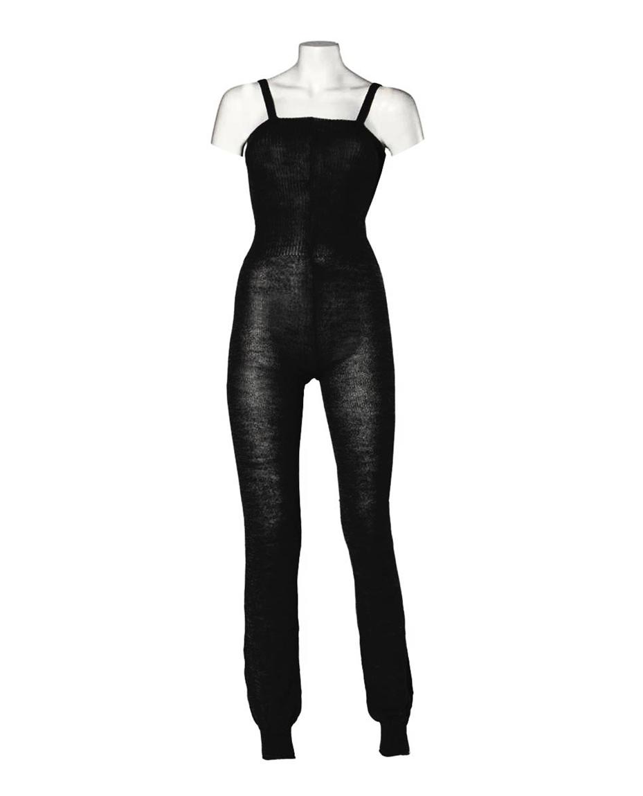 Knitted Camisole Dance Unitard black