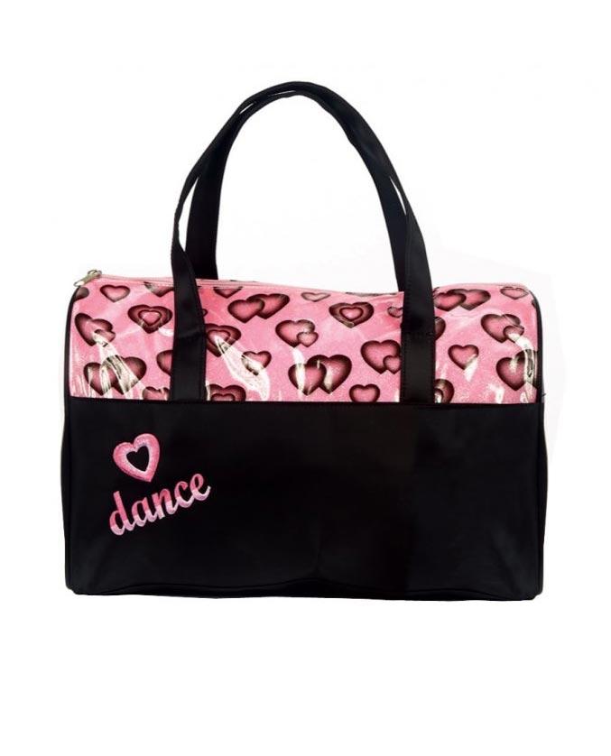 NEW Dance Bag Duffle Pink Heart Dance Font Ballet Tap Jazz Hip Hop
