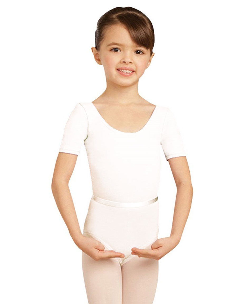 Child Short Sleeve Leotard WHITE