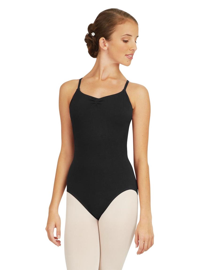 Womens Adjustable Camisole Straps Leotard BLACK