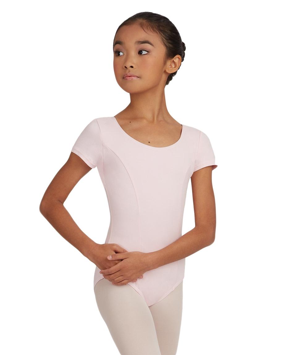 Childs Short Sleeve Cotton Leotard PINK