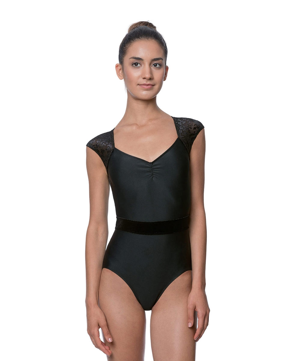 Adult High Neck Flocked Velvet Leotard Gabrielle