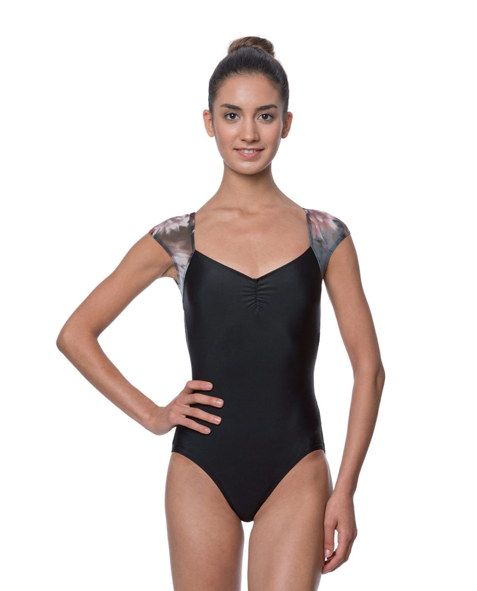 Adult Cap Sleeve Floral Mesh Leotard Monique