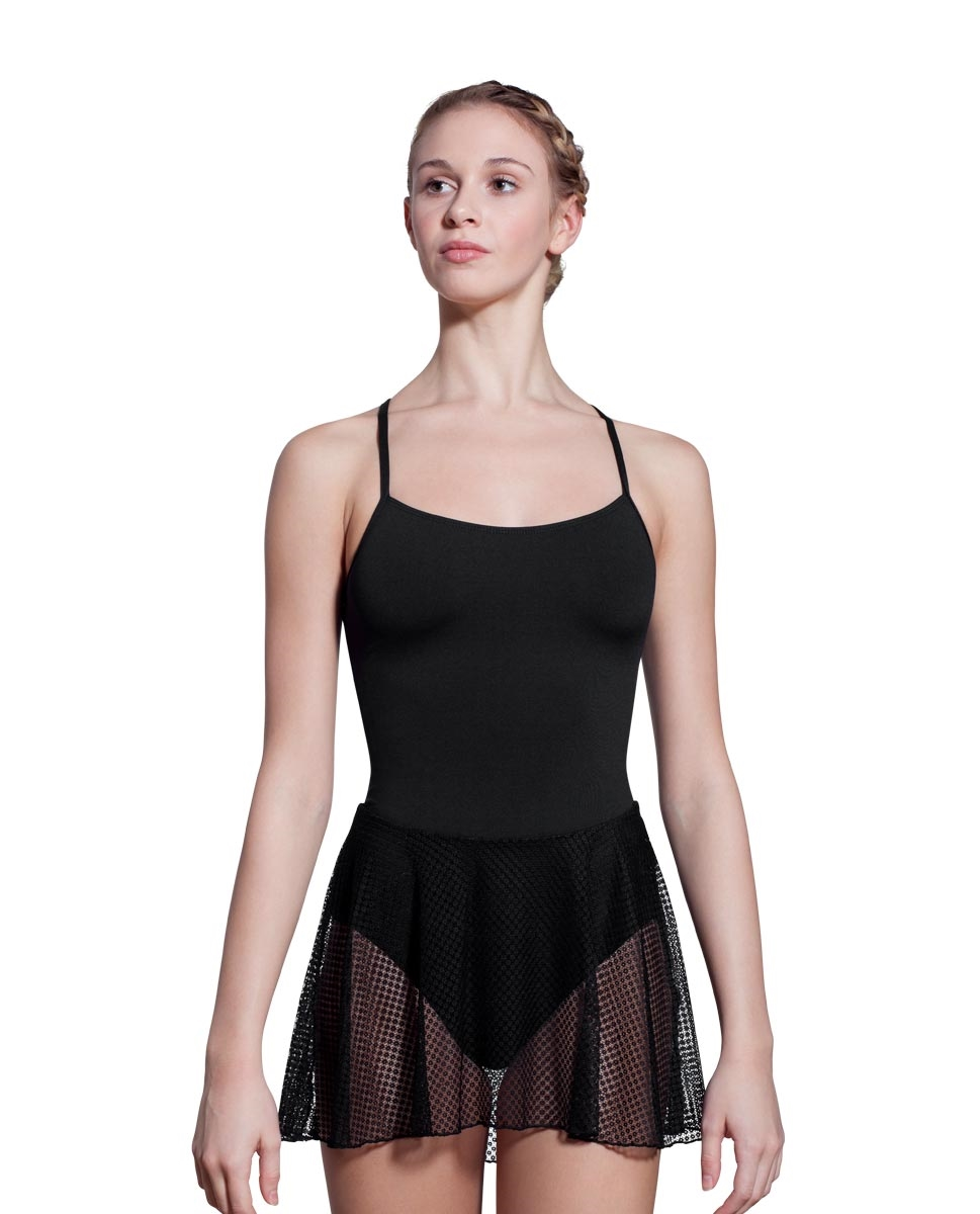 Women X-Back Mesh Skirted Leotard Stephanie