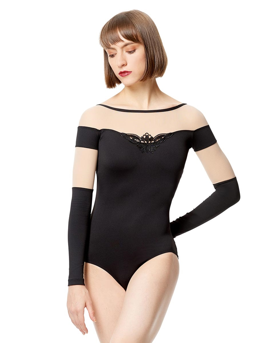 Adult Microfiber with Applique  Long Sleeve Leotard Carmen