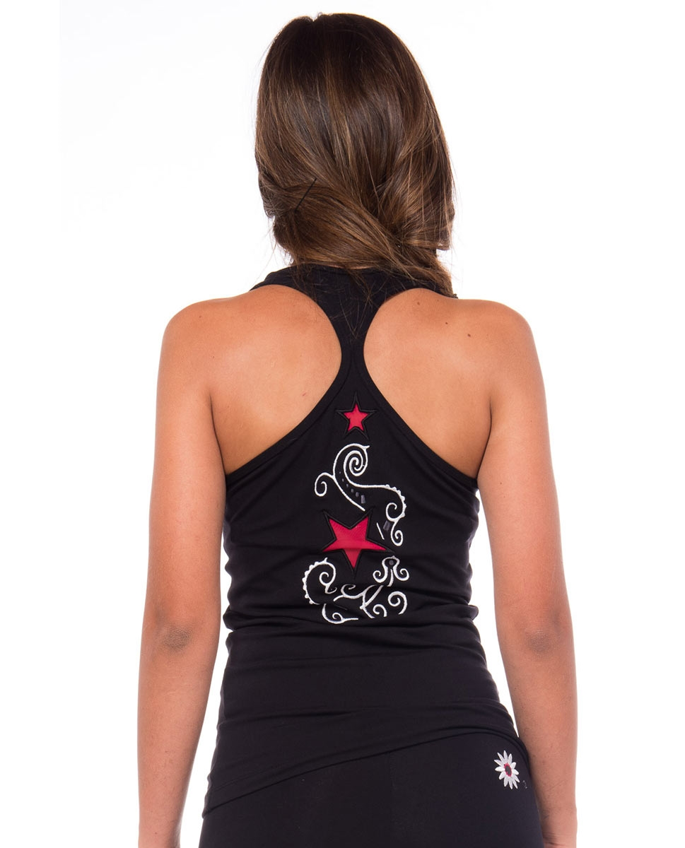 Womens Racer Back Supplex Top with Mesh Stars