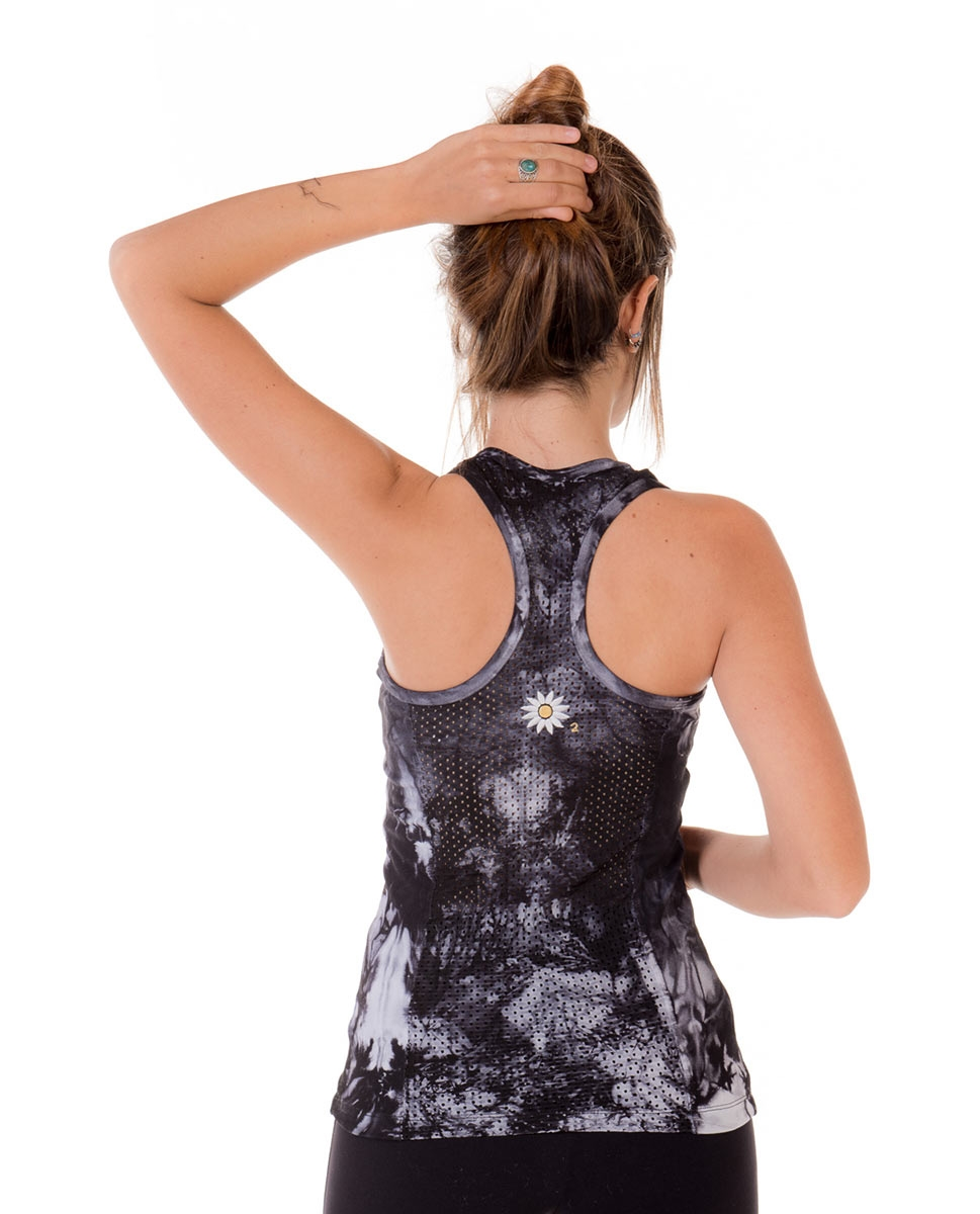 Womens Printed Supplex Perforated Racer Back Top