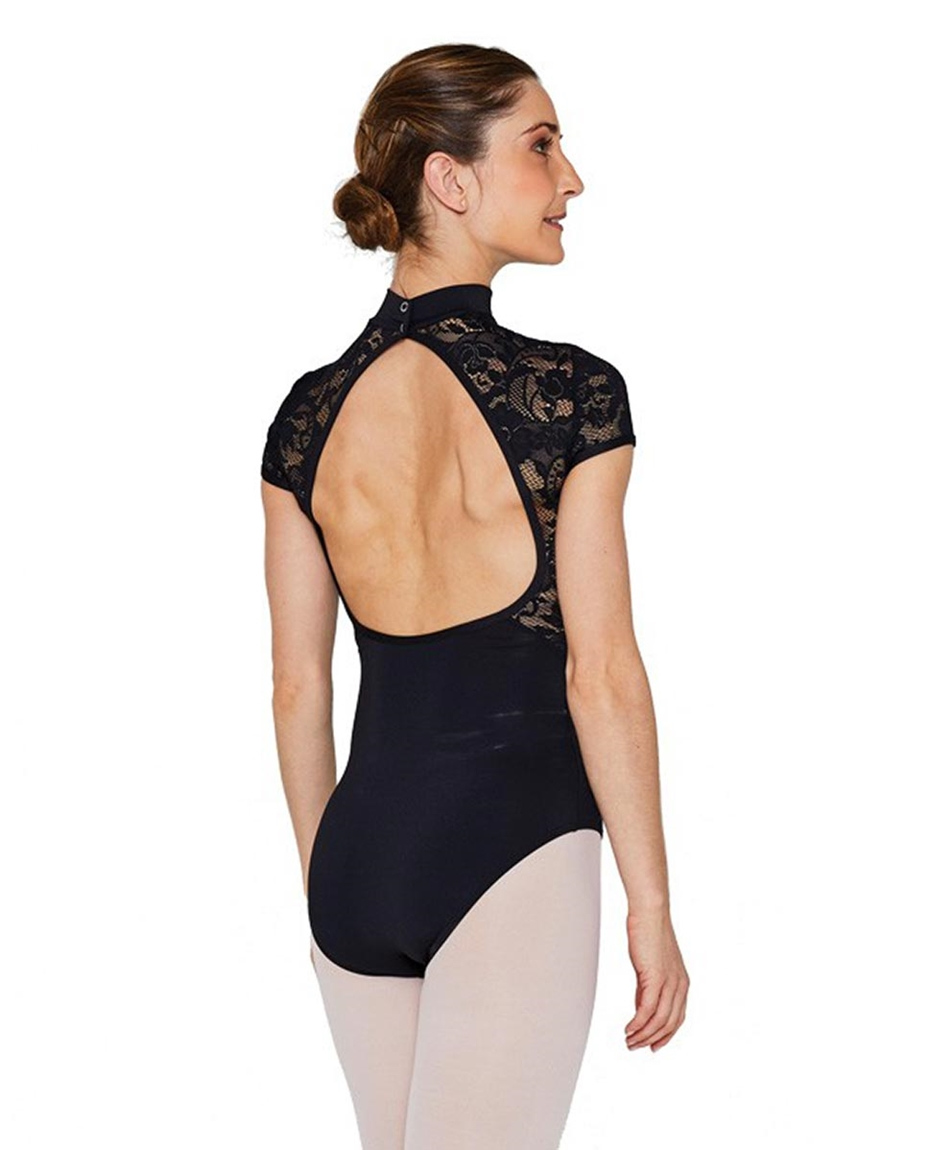 Women Short Sleeve High Neck Lace Dance Leotard