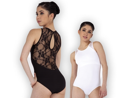 Women Lace Sleeveless Microfiber Dance Leotard