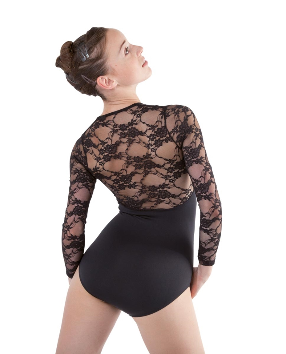 Lace Long Sleeve Dance Leotard for Women
