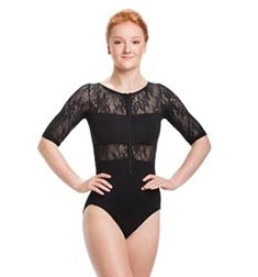 Zipper Front Short Sleeve Dance Leotard Astrid