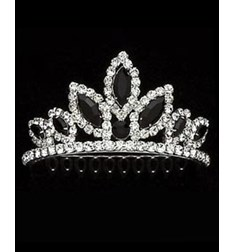Tiara With Black Rhinestones