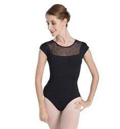 Women Mesh Cap Sleeve Leotard
