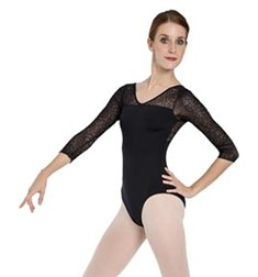 Women 3 4 Sleeved Flocked Mesh Dance Leotard