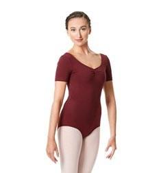 Womens Pinch Front Short Sleeve Dance Leotard Michaela