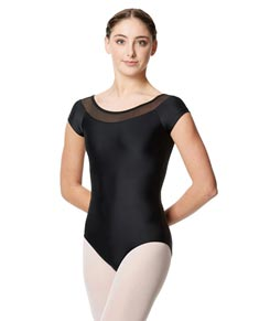 Mesh Cap Sleeves Dance Leotard For Women
