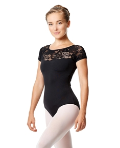 Girls Short Sleeve Lace Dance Leotard Angelina