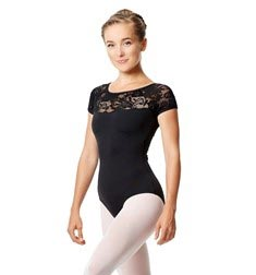 Short Sleeve Lace Dance Leotard Angelina