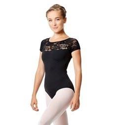Short Sleeve Lace Dance Leotard Angelina