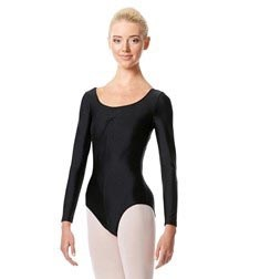 Womens Shiny Long Sleeve Pinch Front Dance Leotard Giselle