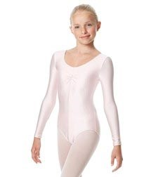 Child Shiny Long Sleeve Pinch Front Ballet Leotard Giselle