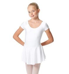 Child Shiny Short Sleeve Skirted Ballet Leotard Emmy