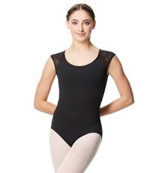 Flower Mesh Cap Sleeve Leotard Genesis For Women