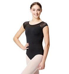 Geo Mesh Cap Sleeve Leotard Ariana For Women