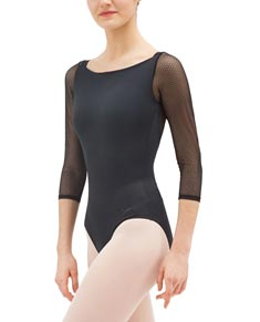 Adults Lace Long Sleeves Boat Neck Ballet Leotard