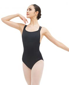 Womens Double Crossed Straps Low Back Ballet Leotard
