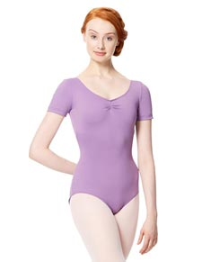 Adult Microfiber Short Sleeve V Neck Leotard Sofia