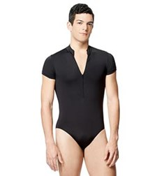 Mens Microfiber Mock Neck Short Sleeve Leotard Eddie