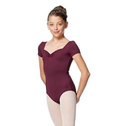 Girls Gathered Front Short Sleeves Ballet Dance Leotard Anfisa