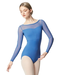 Yoke Mesh Long Sleeve Dance Leotard