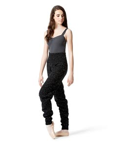 Womens Knitted High Waist Dance Warm Up Pants