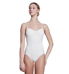 Adult High Neck Striped Mesh Leotard Abby