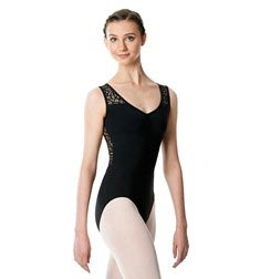 Women V-Neck Lace Back Leotard Phyllis
