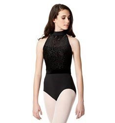 Adult Halter Neck Flocked Velvet dance Leotard Mia