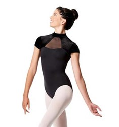 Girls Short Sleeve Mock Neck Dance Leotard Valery