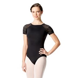 Girls Lace Short Sleeve Dance Leotard Alessia