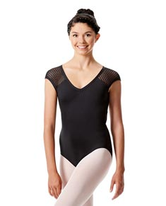 Womens Mesh Cap Sleeve Dance Leotard Ivanna