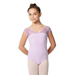 Girls Cap Sleeve Lace Dance Leotard Lina