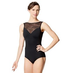 Adult Microfiber and Mesh Sleeveless Tank Leotard Paola