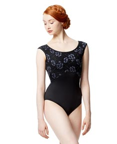 Adult Microfiber and Lace Cap Sleeve Leotard Delmar