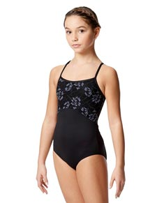 Child Microfiber and Lace Camisole Leotard Gracia