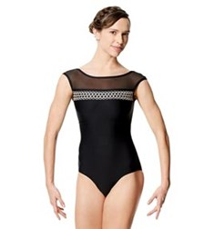 Adult Embroidered Microfiber Cap Sleeve Leotard Edeli