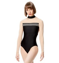 Adult Embroidered Microfiber Long Sleeve Leotard Rio