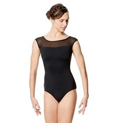 Adult Microfiber and Mesh  Cap Sleeve Leotard Priscila