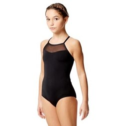 Child Microfiber and Mesh Camisole Leotard Senna