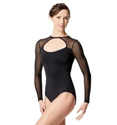 Adult Microfiber and Mesh Long Sleeve  Leotard Simona